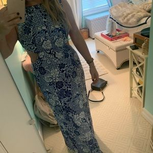 Forever 21 Cutout Maxi Dress-Blue and white size M